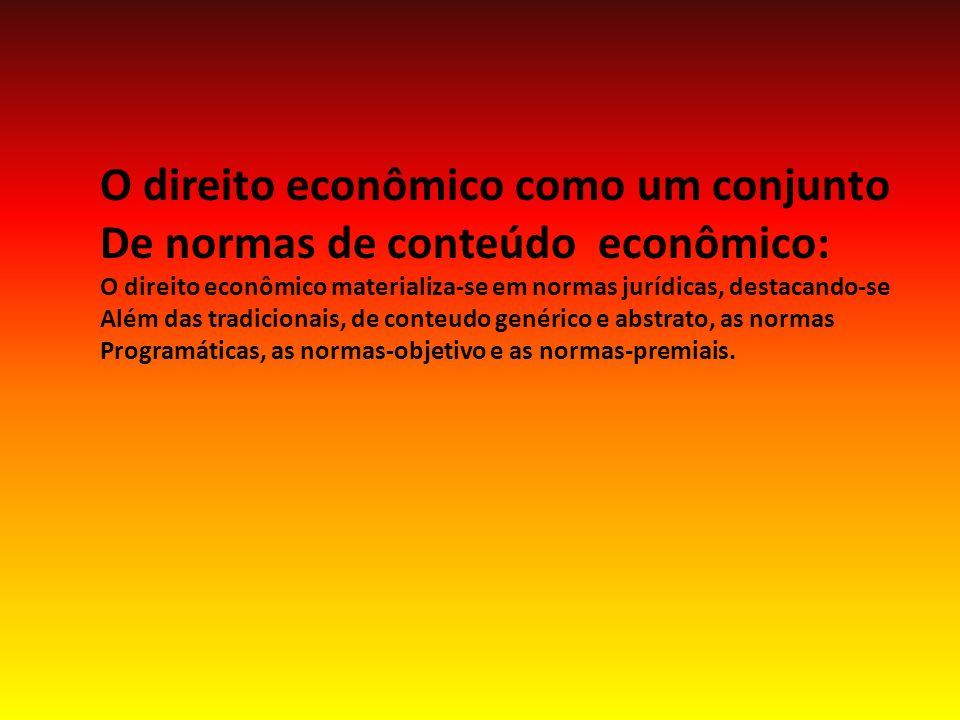 O direito econômico como um conjunto De normas de conteúdo econômico:
