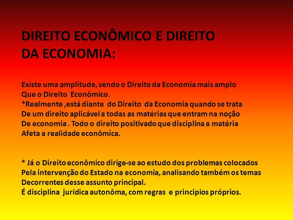DIREITO ECONÔMICO E DIREITO DA ECONOMIA: