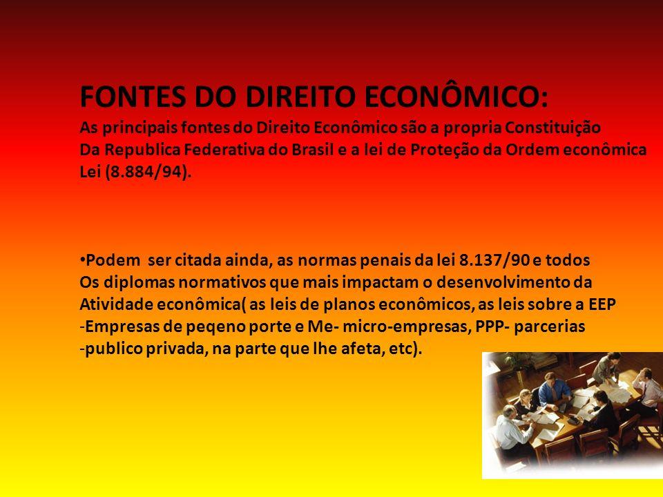 FONTES DO DIREITO ECONÔMICO: