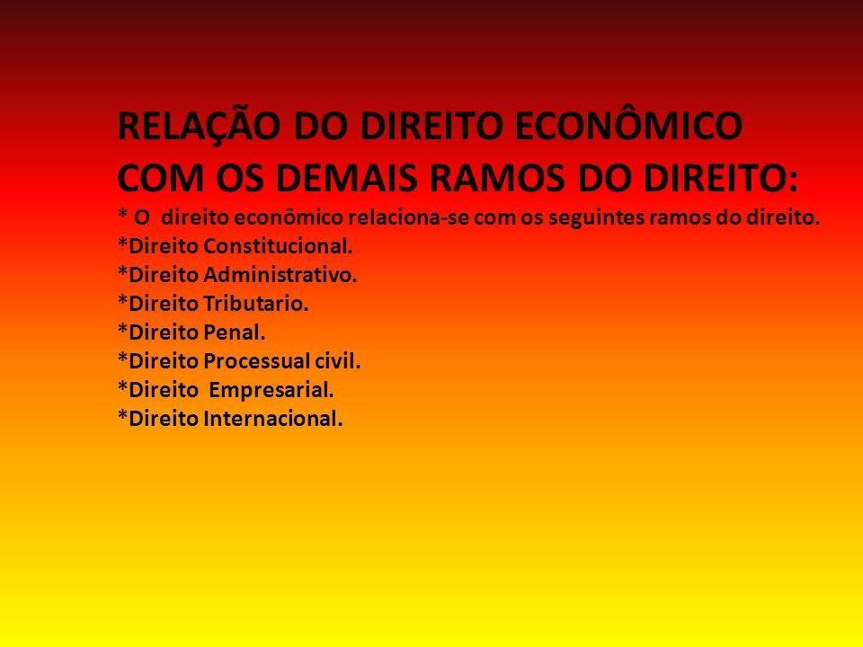 RELAÇÃO DO DIREITO ECONÔMICO COM OS DEMAIS RAMOS DO DIREITO: