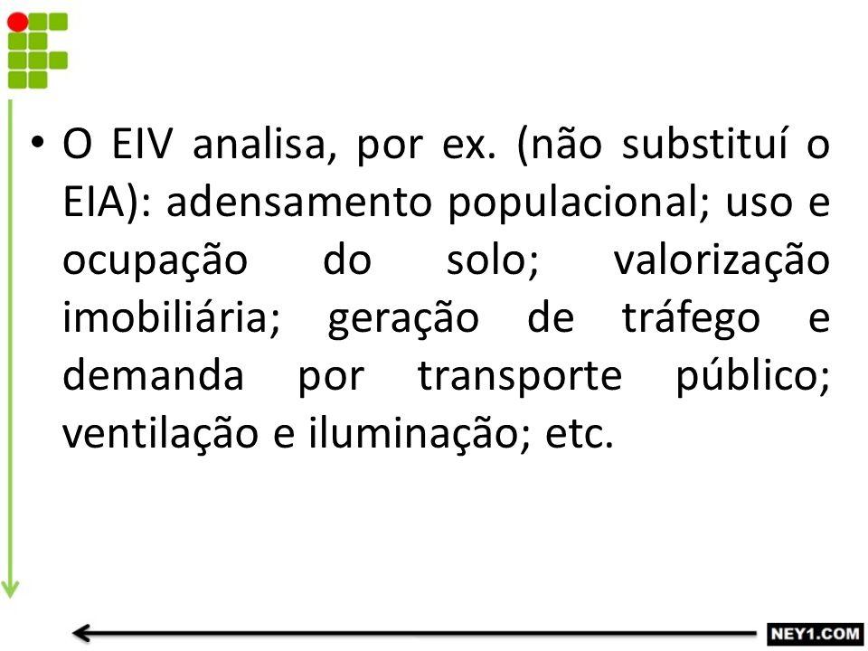 O EIV analisa, por ex.