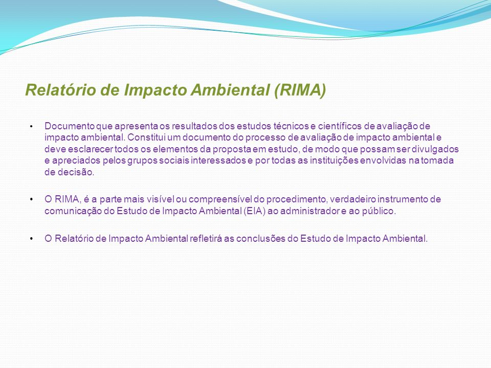 Relatório de Impacto Ambiental (RIMA)