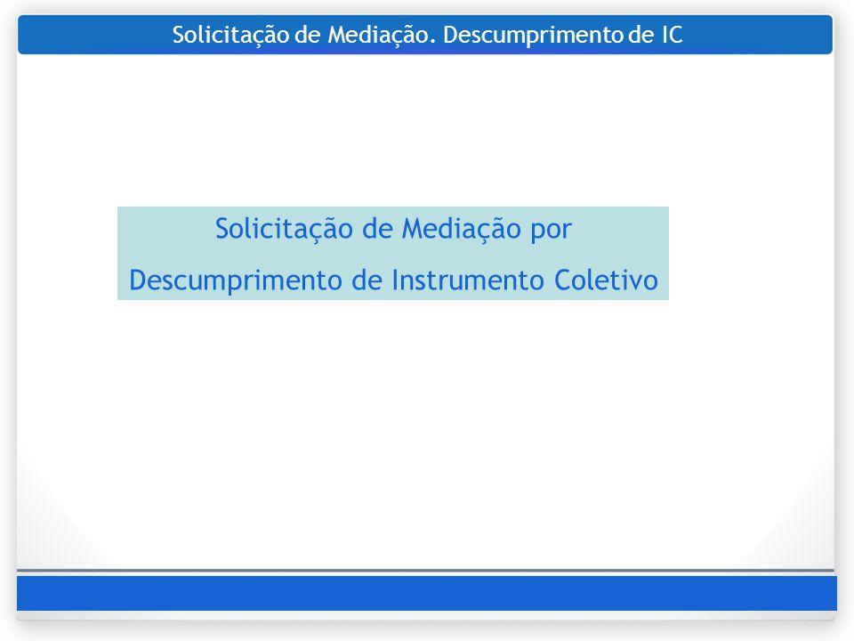 Solicitação de Mediação. Descumprimento de IC