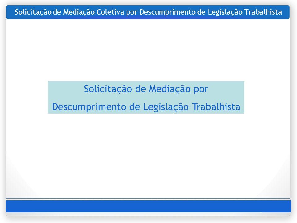 Solicitação de Mediação por Descumprimento de Legislação Trabalhista