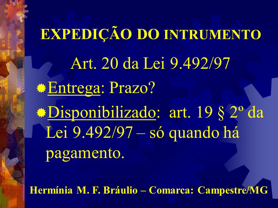EXPEDIÇÃO DO INTRUMENTO