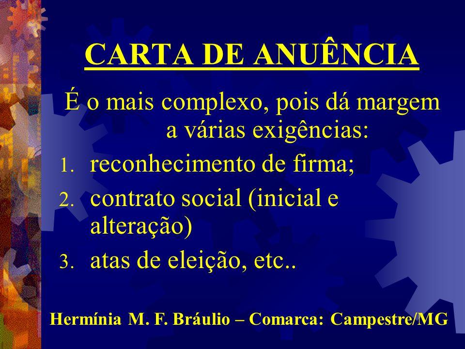 CARTA DE ANUÊNCIA É o mais complexo, pois dá margem a várias exigências: reconhecimento de firma; contrato social (inicial e alteração)
