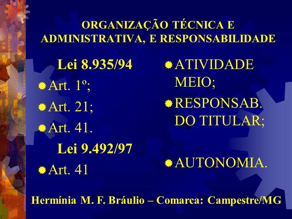 ORGANIZAÇÃO TÉCNICA E ADMINISTRATIVA, E RESPONSABILIDADE