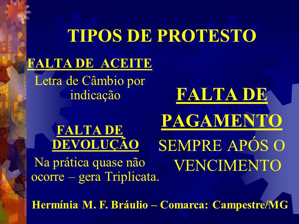 TIPOS DE PROTESTO FALTA DE PAGAMENTO