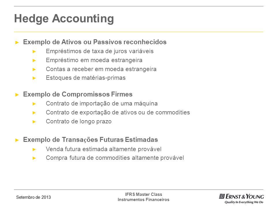 Hedge Accounting Exemplo de Ativos ou Passivos reconhecidos
