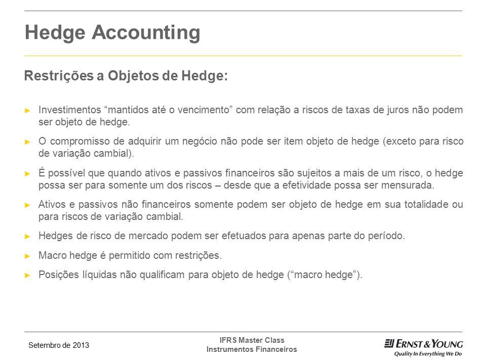 Hedge Accounting Restrições a Objetos de Hedge: