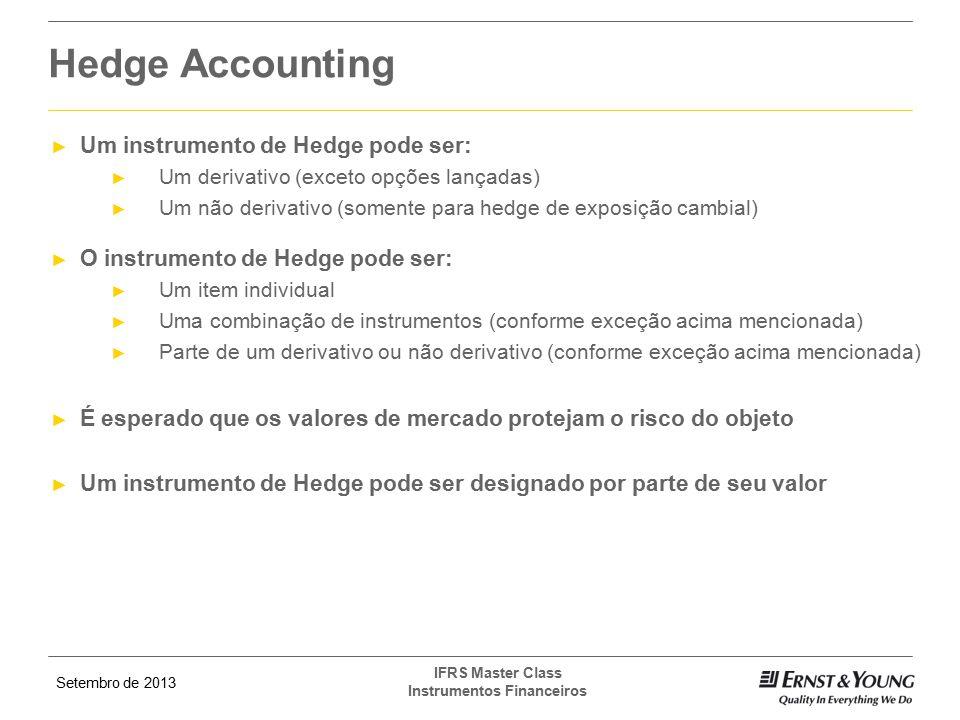 Hedge Accounting Um instrumento de Hedge pode ser: