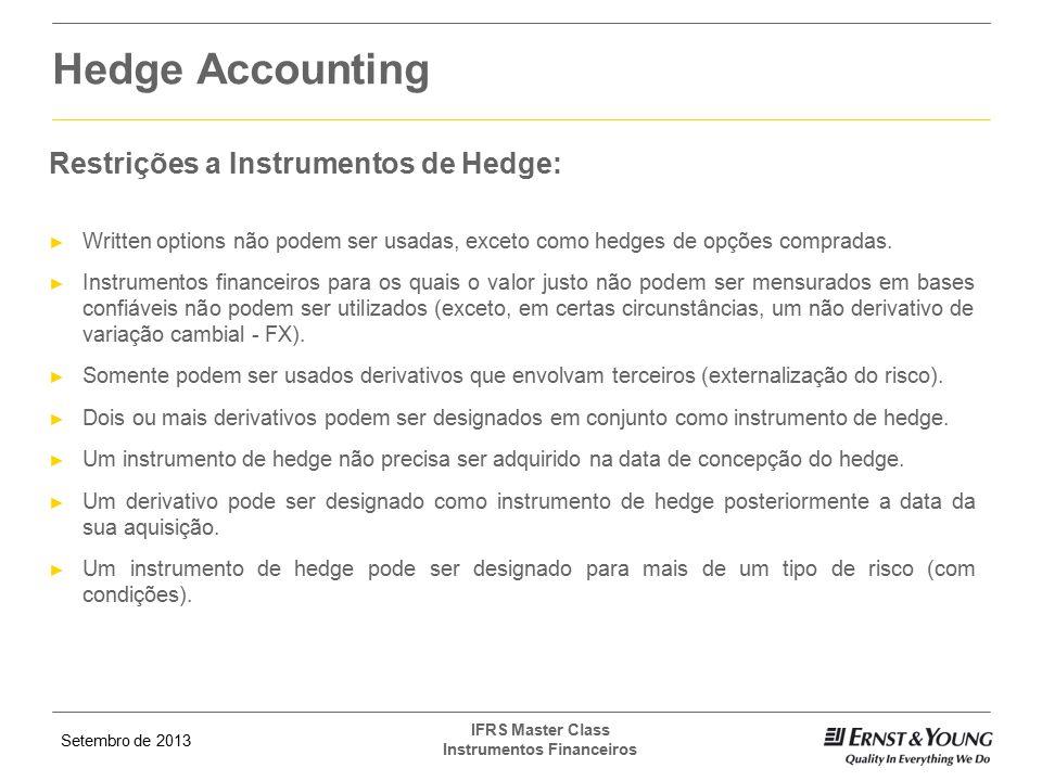Hedge Accounting Restrições a Instrumentos de Hedge: