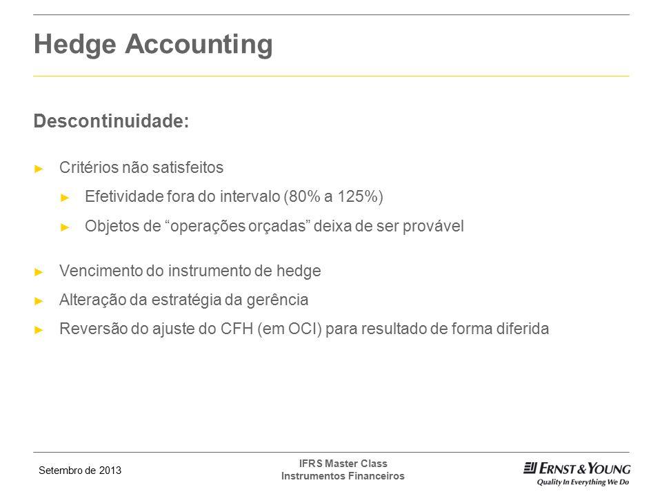 Hedge Accounting Descontinuidade: Critérios não satisfeitos