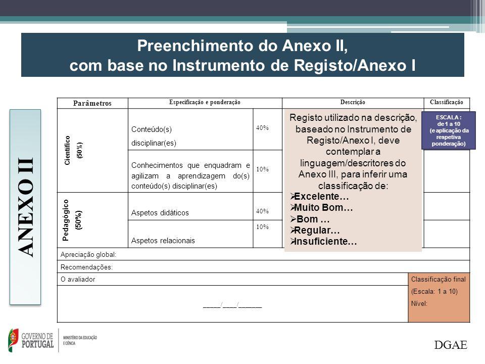 ANEXO II Preenchimento do Anexo II,