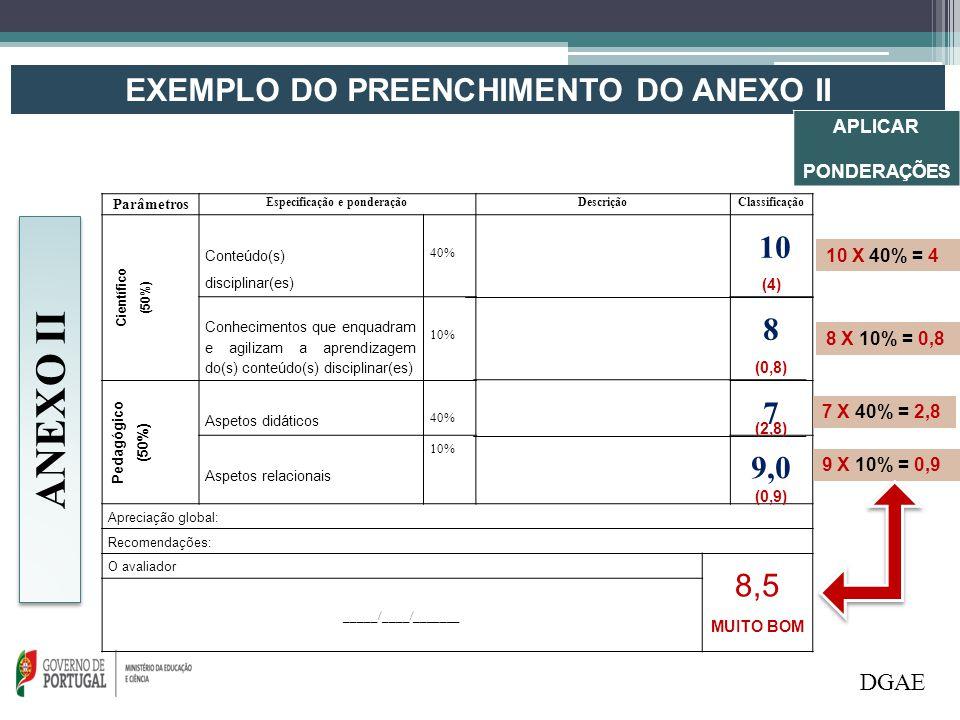 EXEMPLO DO PREENCHIMENTO DO ANEXO II Especificação e ponderação