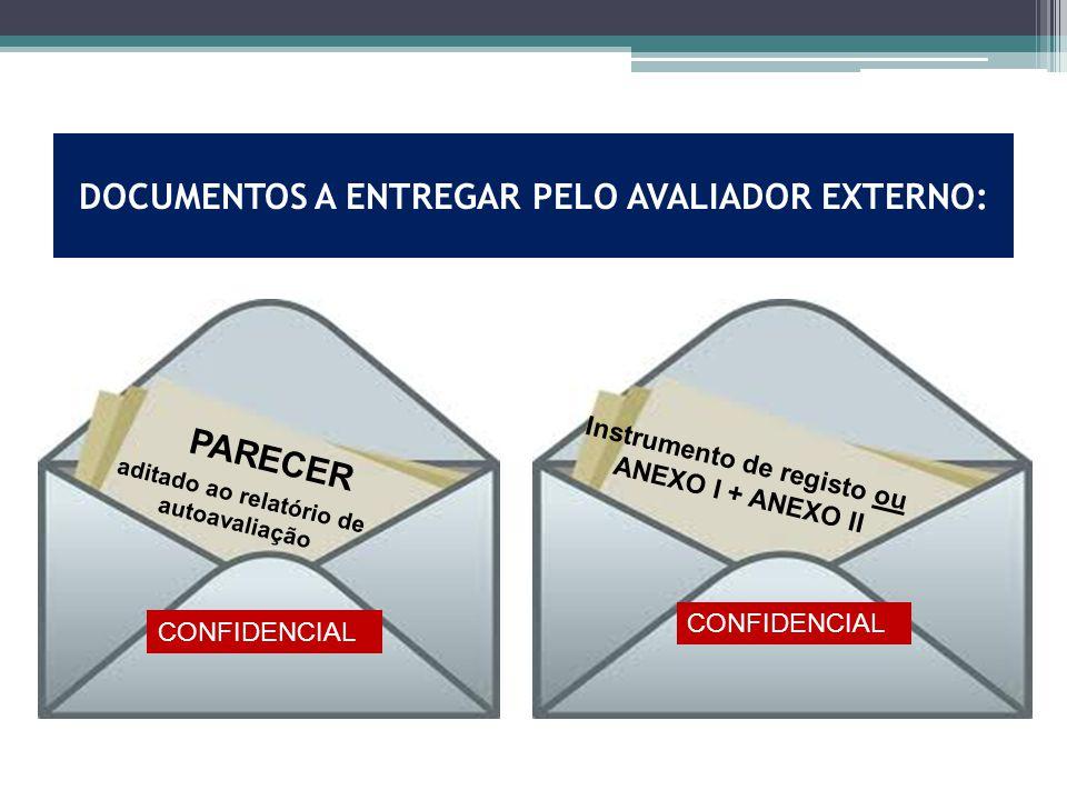 DOCUMENTOS A ENTREGAR PELO AVALIADOR EXTERNO: