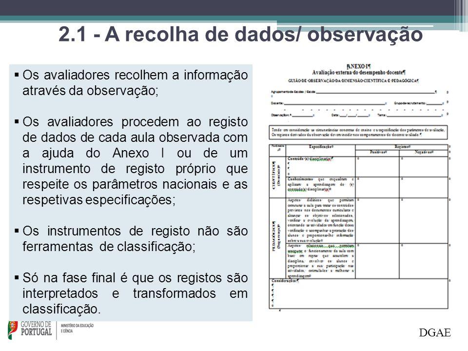 2.1 - A recolha de dados/ observação