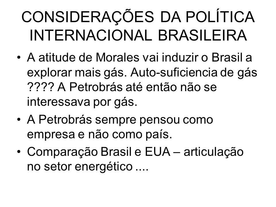 CONSIDERAÇÕES DA POLÍTICA INTERNACIONAL BRASILEIRA
