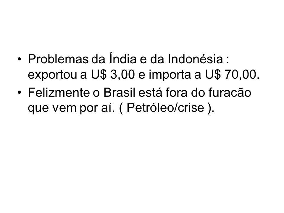 Problemas da Índia e da Indonésia : exportou a U$ 3,00 e importa a U$ 70,00.