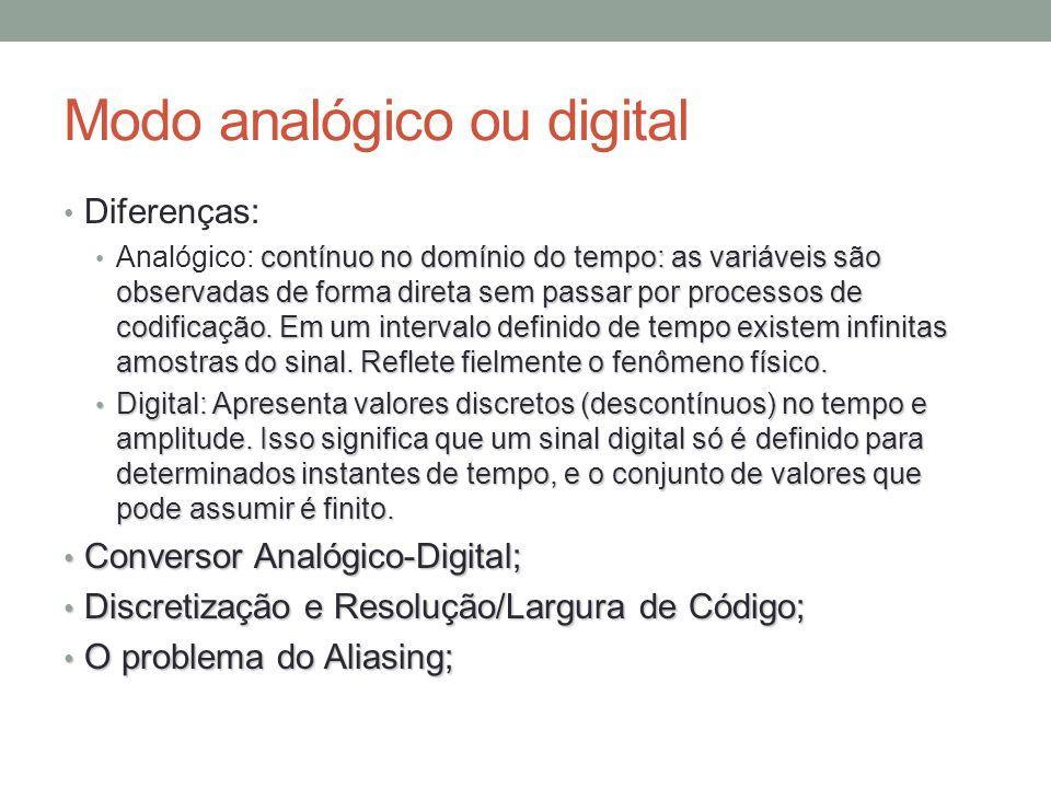 Modo analógico ou digital