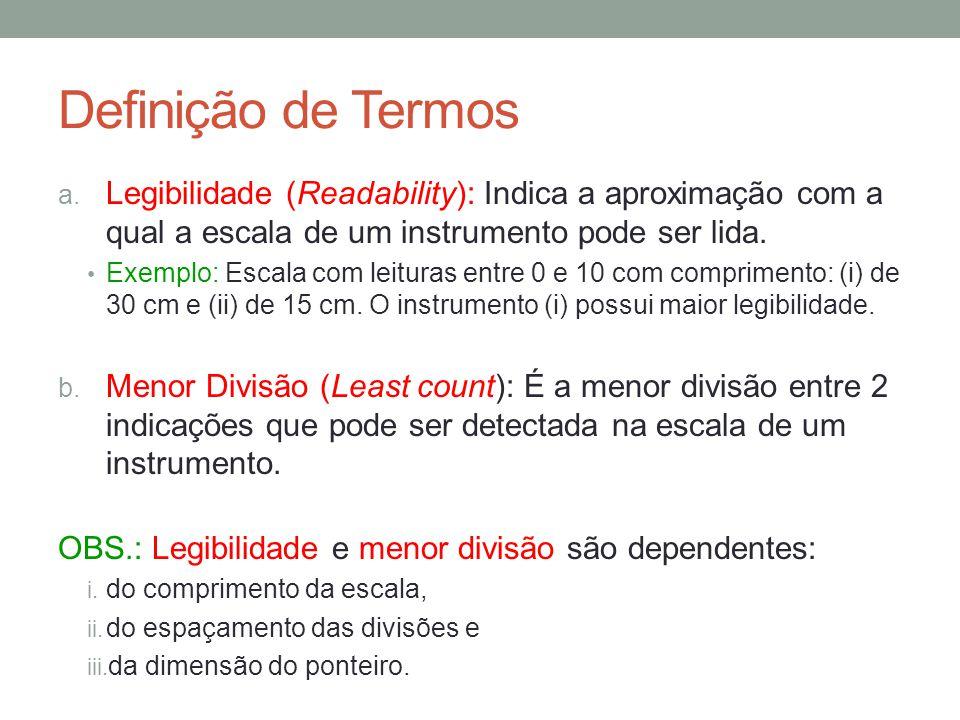Definição de Termos Legibilidade (Readability): Indica a aproximação com a qual a escala de um instrumento pode ser lida.