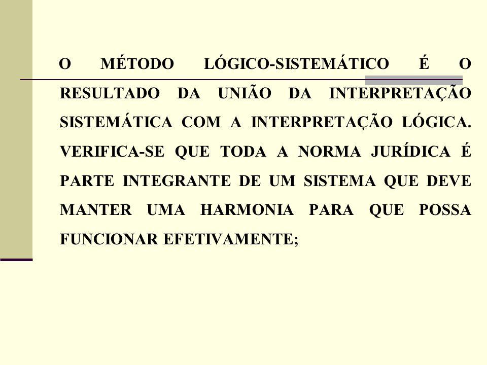 O MÉTODO LÓGICO-SISTEMÁTICO É O RESULTADO DA UNIÃO DA INTERPRETAÇÃO SISTEMÁTICA COM A INTERPRETAÇÃO LÓGICA.