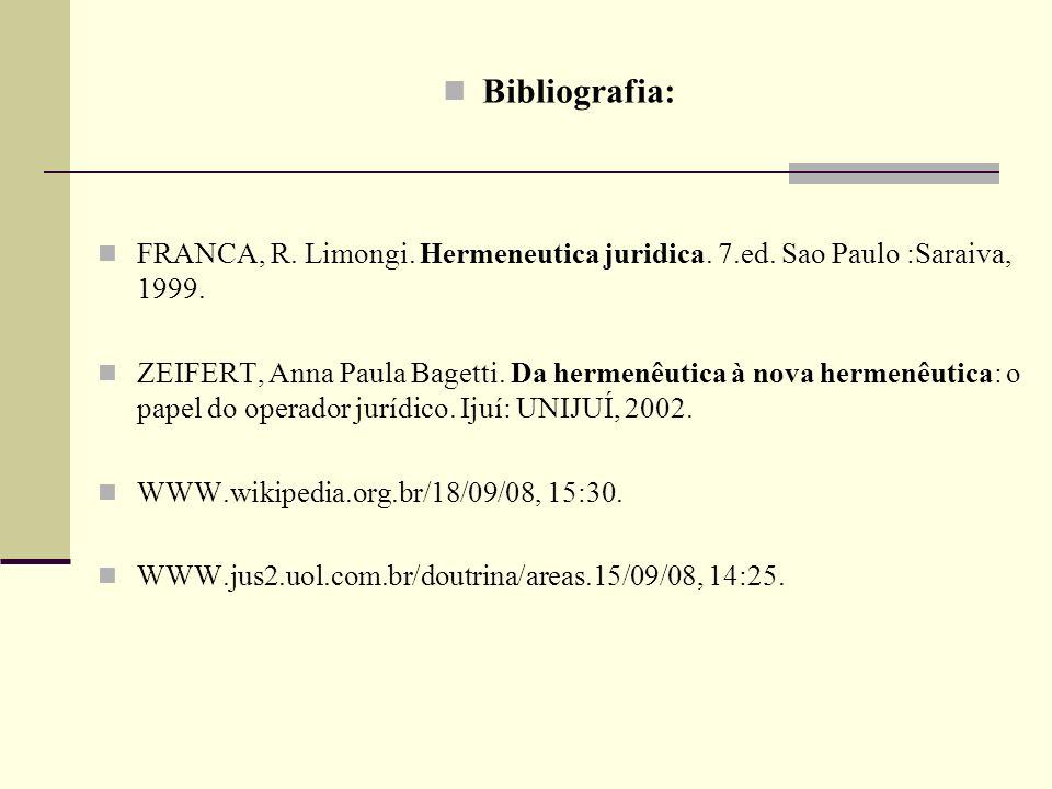 Bibliografia:FRANCA, R. Limongi. Hermeneutica juridica. 7.ed. Sao Paulo :Saraiva, 1999.