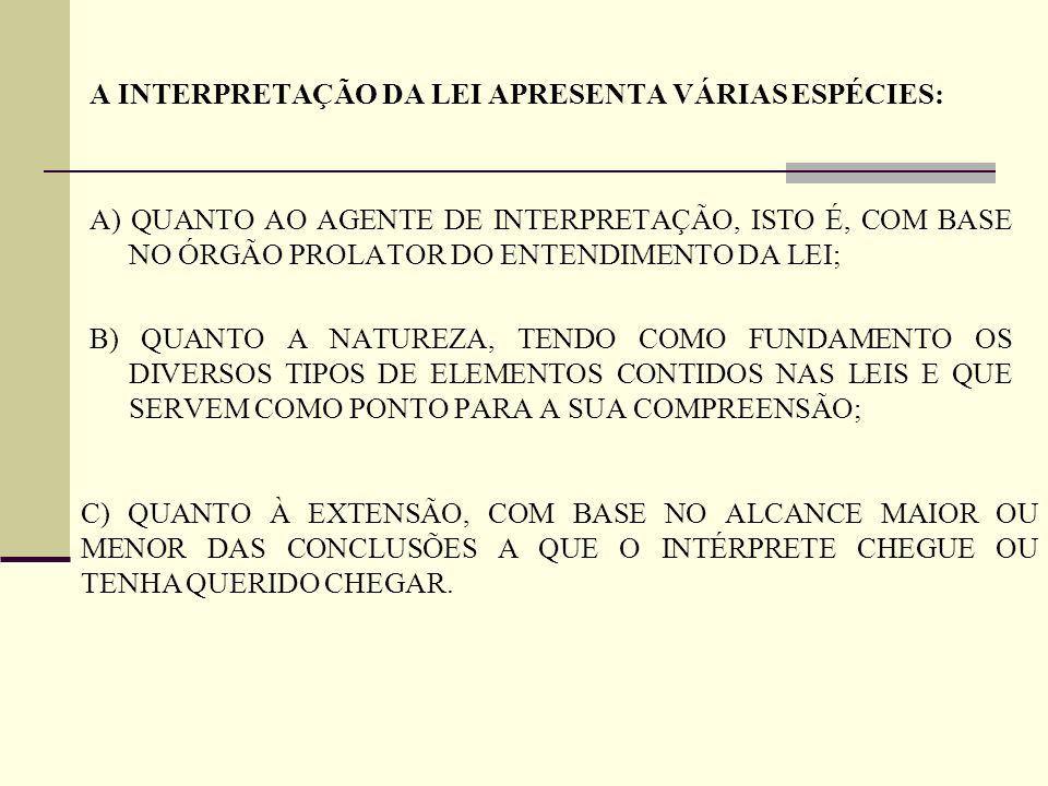 A INTERPRETAÇÃO DA LEI APRESENTA VÁRIAS ESPÉCIES:
