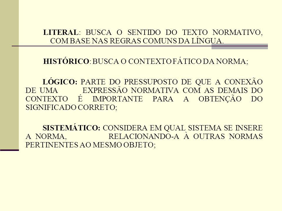 LITERAL: BUSCA O SENTIDO DO TEXTO NORMATIVO, COM BASE NAS REGRAS COMUNS DA LÍNGUA.
