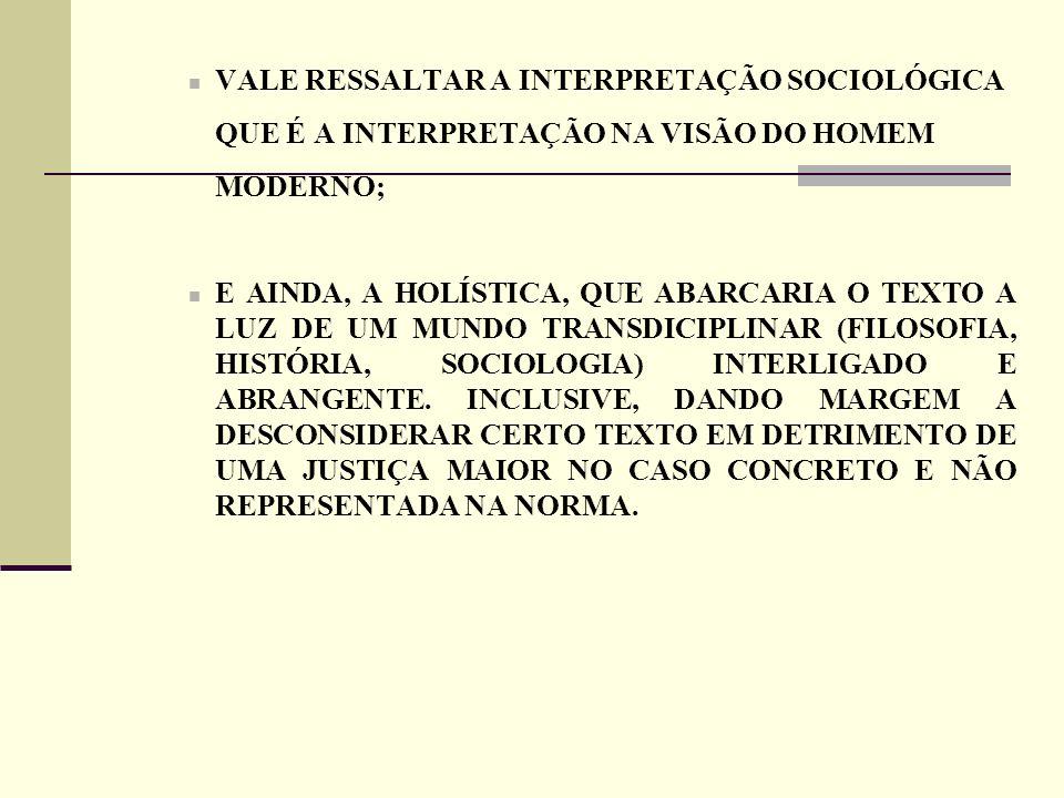 VALE RESSALTAR A INTERPRETAÇÃO SOCIOLÓGICA QUE É A INTERPRETAÇÃO NA VISÃO DO HOMEM MODERNO;