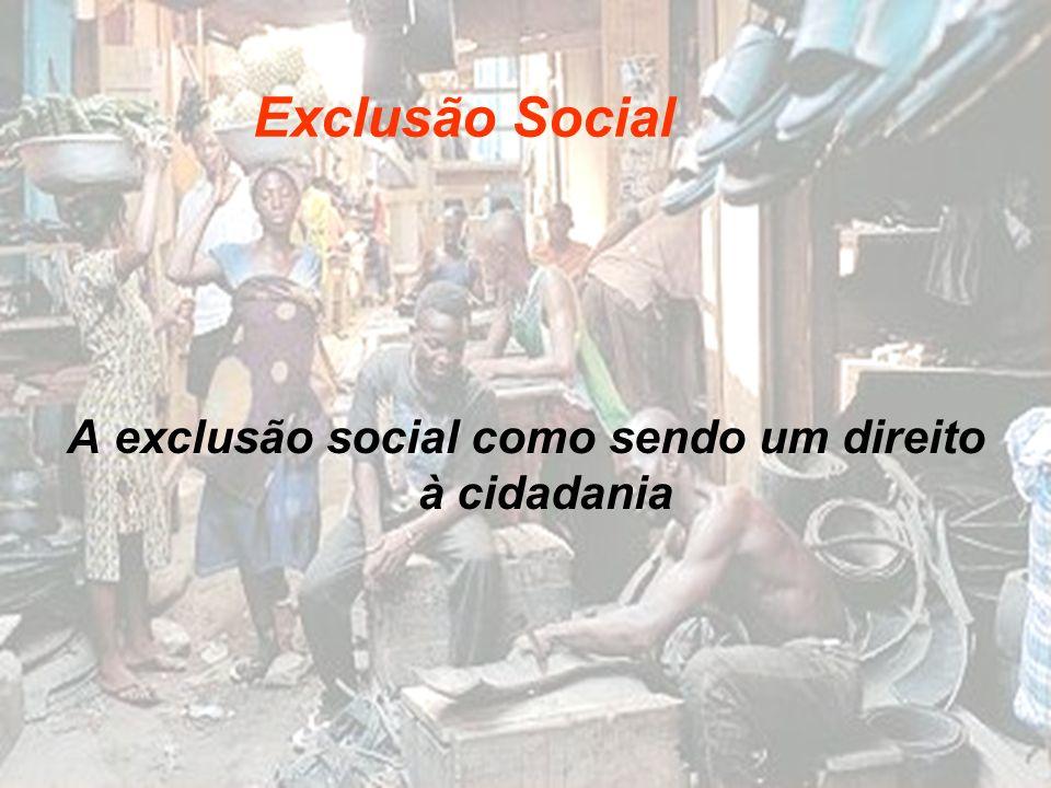 A exclusão social como sendo um direito à cidadania