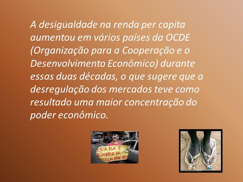 A desigualdade na renda per capita aumentou em vários países da OCDE (Organização para a Cooperação e o Desenvolvimento Econômico) durante essas duas décadas, o que sugere que a desregulação dos mercados teve como resultado uma maior concentração do poder econômico.