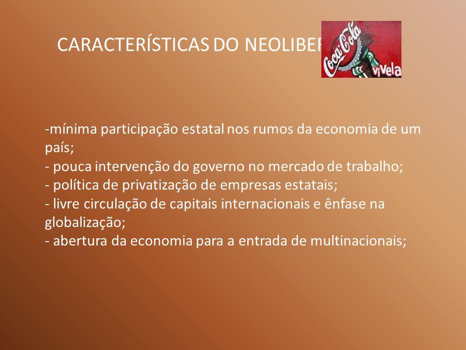 CARACTERÍSTICAS DO NEOLIBERALISMO