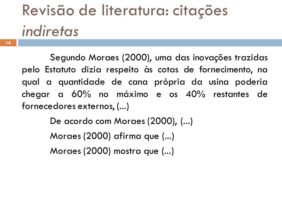 Revisão de literatura: citações indiretas