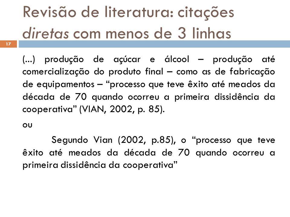 Revisão de literatura: citações diretas com menos de 3 linhas