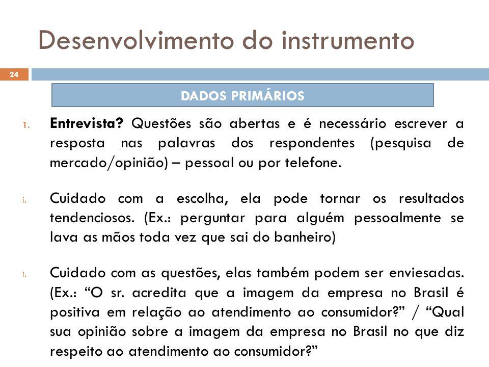 Desenvolvimento do instrumento