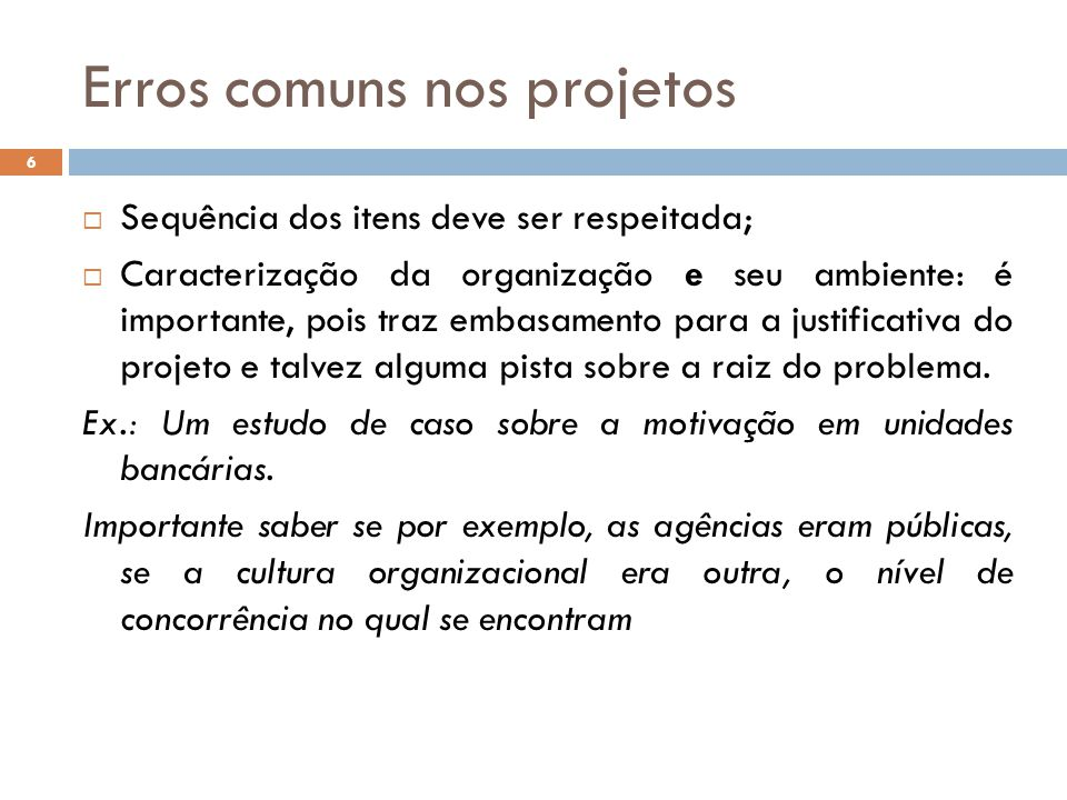 Erros comuns nos projetos