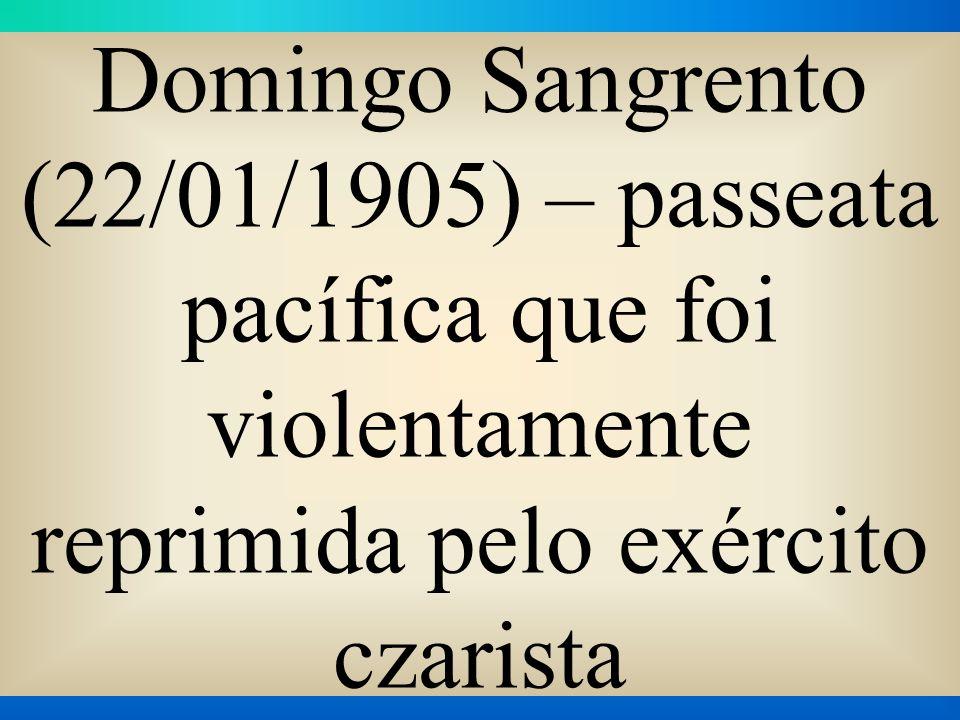 Domingo Sangrento (22/01/1905) – passeata pacífica que foi violentamente reprimida pelo exército czarista