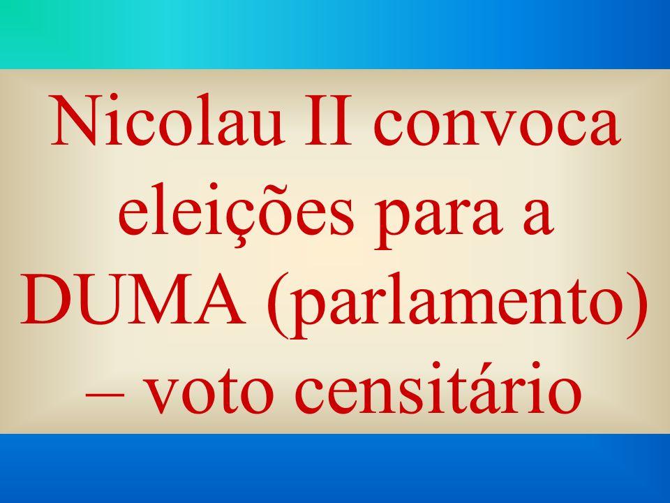 Nicolau II convoca eleições para a DUMA (parlamento) – voto censitário