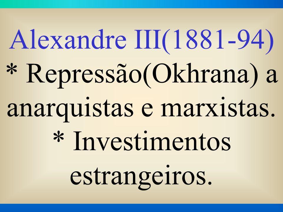 Alexandre III(1881-94). Repressão(Okhrana) a anarquistas e marxistas