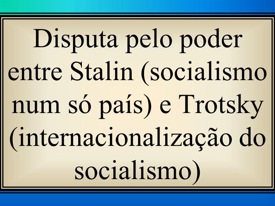 Disputa pelo poder entre Stalin (socialismo num só país) e Trotsky (internacionalização do socialismo)