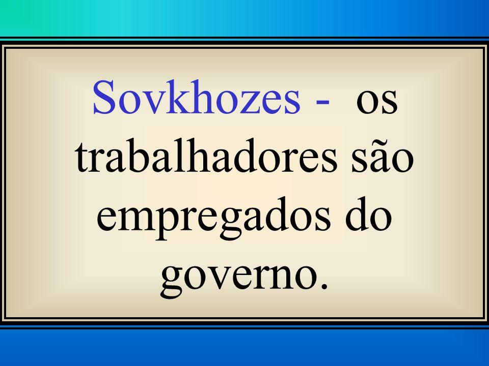Sovkhozes - os trabalhadores são empregados do governo.