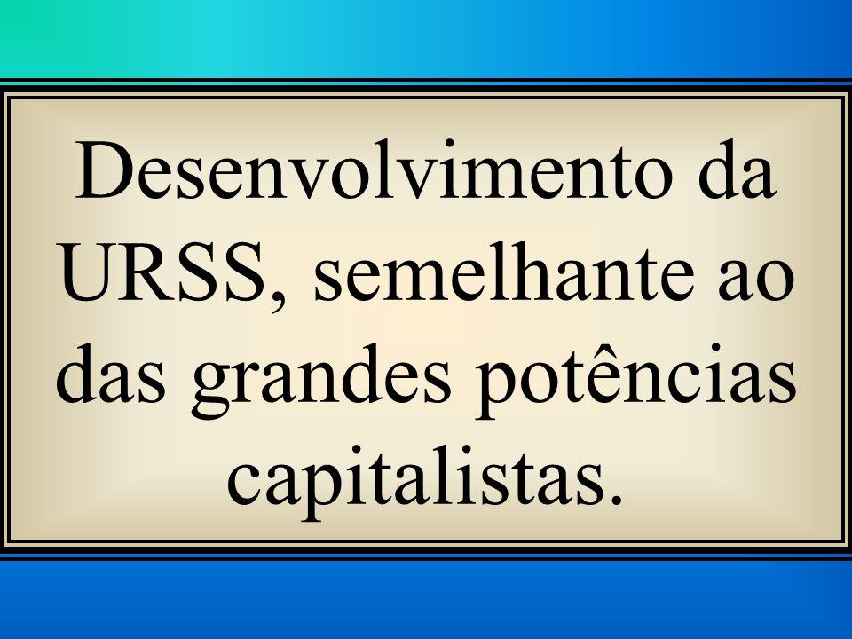 Desenvolvimento da URSS, semelhante ao das grandes potências capitalistas.