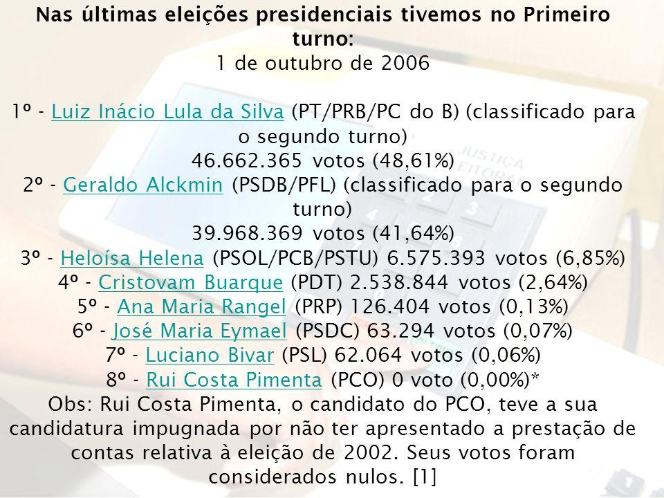 Nas últimas eleições presidenciais tivemos no Primeiro turno: