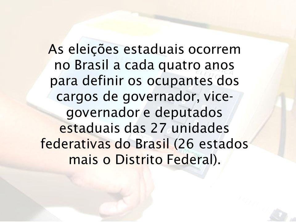 As eleições estaduais ocorrem no Brasil a cada quatro anos para definir os ocupantes dos cargos de governador, vice-governador e deputados estaduais das 27 unidades federativas do Brasil (26 estados mais o Distrito Federal).