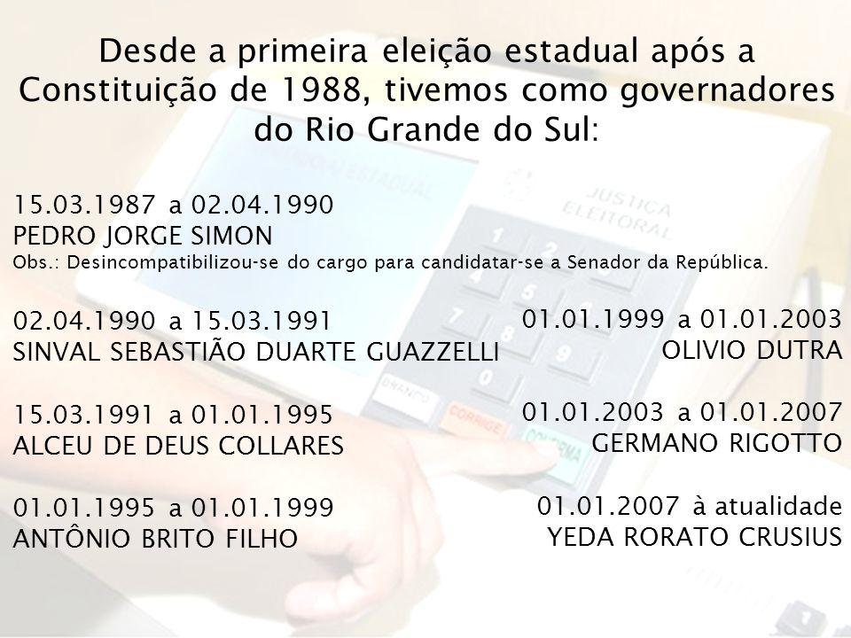 Desde a primeira eleição estadual após a Constituição de 1988, tivemos como governadores do Rio Grande do Sul: