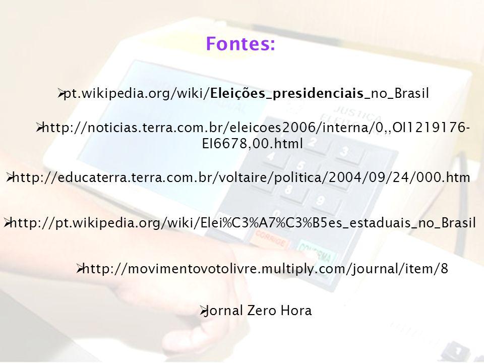 Fontes: pt.wikipedia.org/wiki/Eleições_presidenciais_no_Brasil