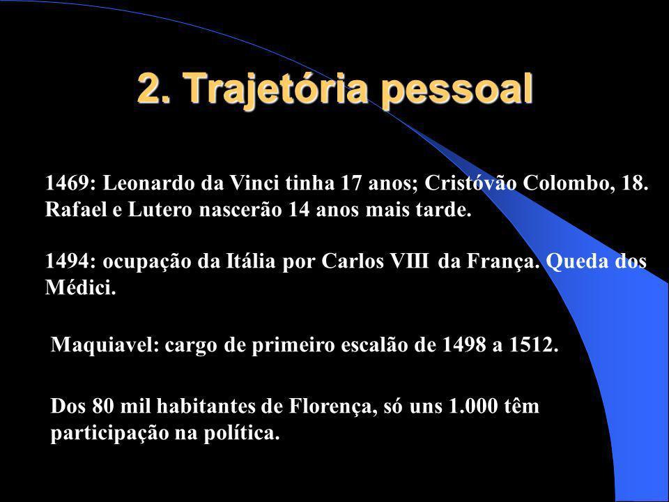 2. Trajetória pessoal 1469: Leonardo da Vinci tinha 17 anos; Cristóvão Colombo, 18. Rafael e Lutero nascerão 14 anos mais tarde.