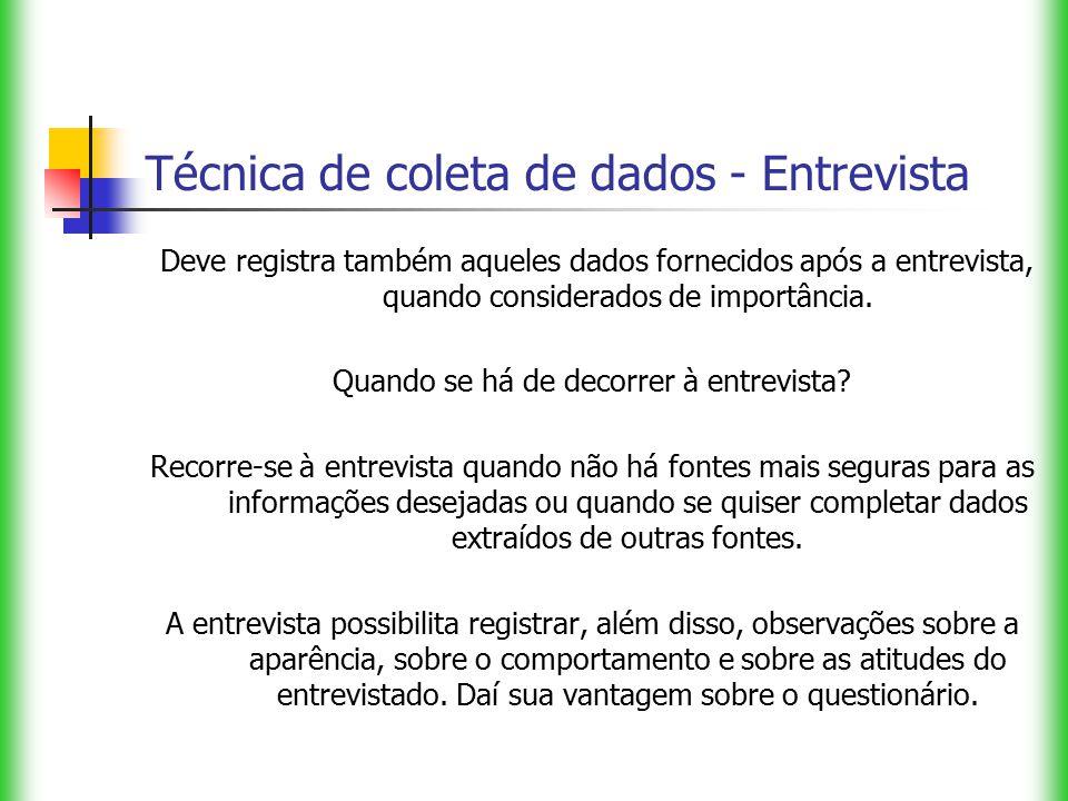 Técnica de coleta de dados - Entrevista