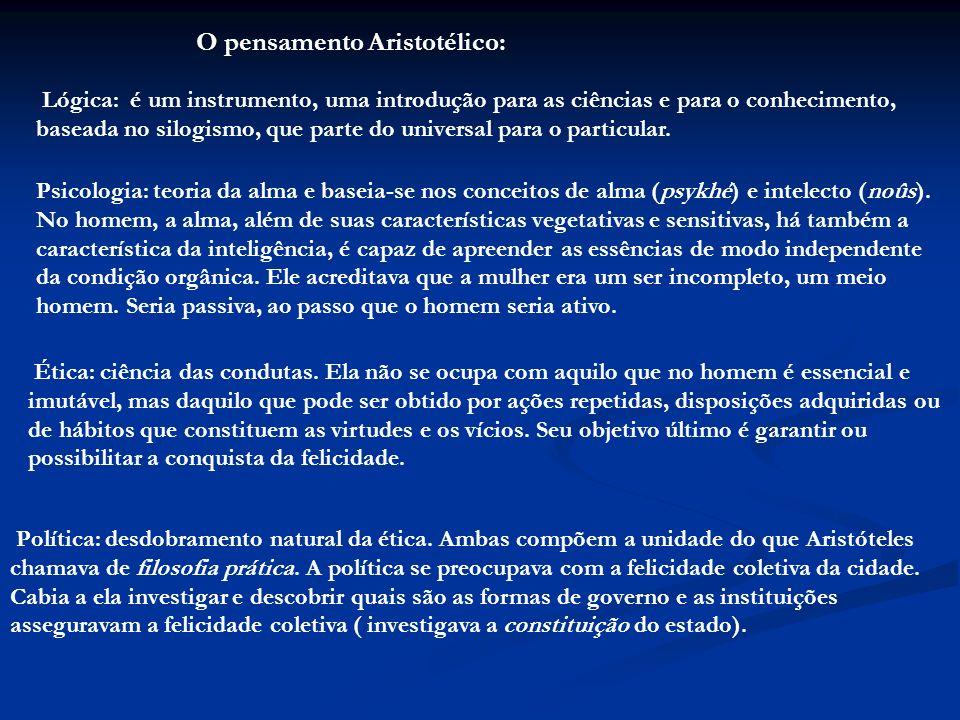 O pensamento Aristotélico: